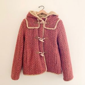 Anna Sui Pink Sherpa Wool Toggle Thick Coat - 10